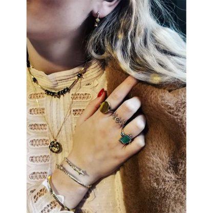 bague en argent et laiton avec pierre naturelle oeil de tigre chez Dolita bijoux