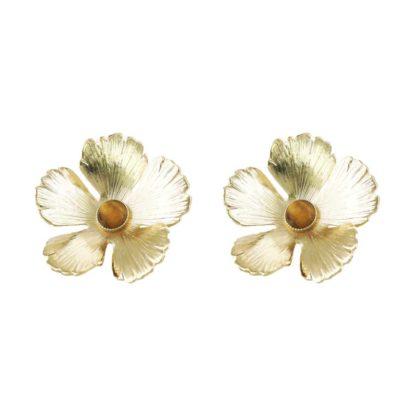 boucles d'oreilles en forme de fleurs dorées avec pierres idée de cadeau
