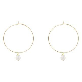 idée de cadeau bijoux femme les boucles d'oreilles créoles avec pendentif nacre en plaqué or