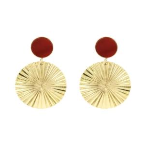 idée de cadeau les boucles d'oreilles dorées avec pierre du créateur parisien Fabien Ajzenberg chez Dolita bijoux