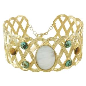 bracelet manchette doré avec pierres créateur français made in france bijoux français chez dolita bijoux tendance idée de cadeau