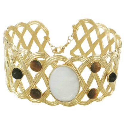manchette tressée dorée avec des pierres du créateur Fabien Ajzenberg chez Dolita bijoux