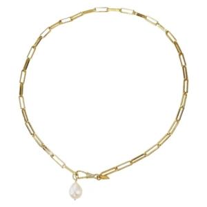 idée cadeau bijoux femme avec le collier doré grosses mailles et pendentif nacre naturelle de Delphes chez Dolita bijoux