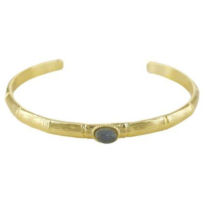 bracelet jonc bambou cabochon labradorite idée cadeau bijoux femme