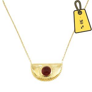 collier femme chaîne avec pierre rouge