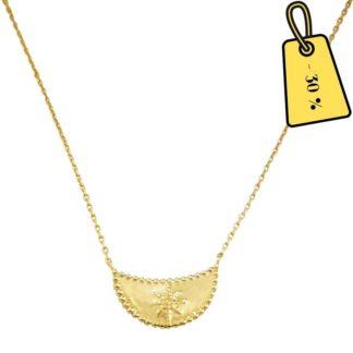 collier lune étoile plaqué or femme