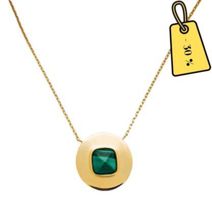 collier femme médaille malachite tendance