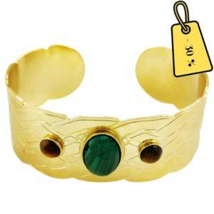 bracelet manchette laiton doré et pierres naturelles