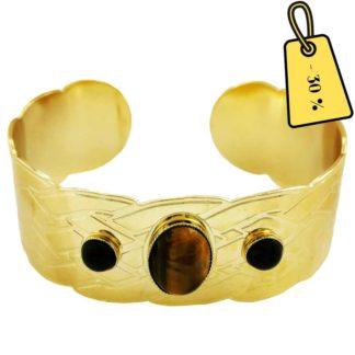 bracelet manchette doré et pierres naturelles