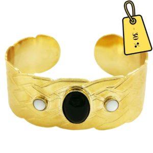 bracelet manchette laiton doré et onyx