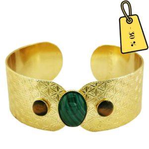 bracelet manchette femme tendance dorée avec pierres