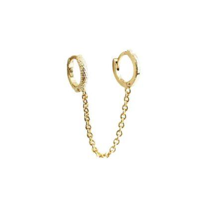 boucle d'oreille double trous chaîne plaqué or
