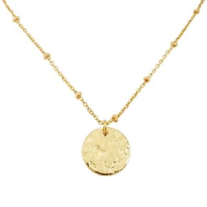 collier médaille plaqué or femme