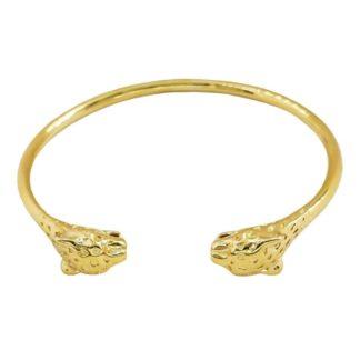 bracelet jonc doré léopard