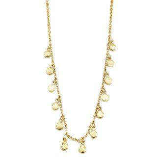 collier femme doré pampilles rondes