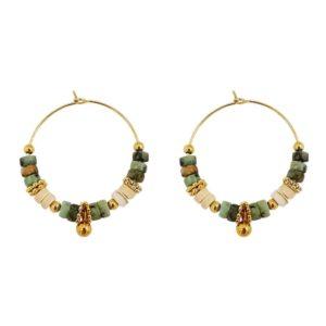 boucles d'oreilles femme créoles perles pierres naturelles