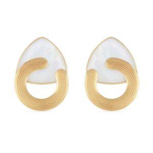 boucles d'oreilles tendances femme dorées et nacre