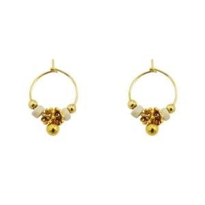 mini créoles ivoire perles dorées femme
