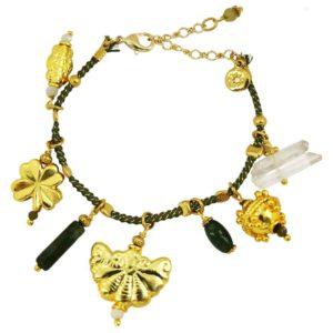 bracelet cordon kaki avec grigri marque bijoux française By Garance