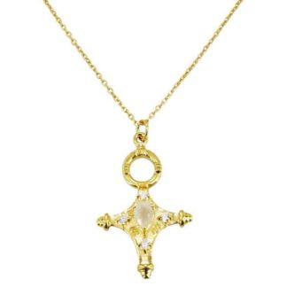 collier croix femme bijoux marque française pierre de lune blanche