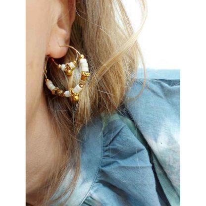 look boucles d'oreilles créoles perles