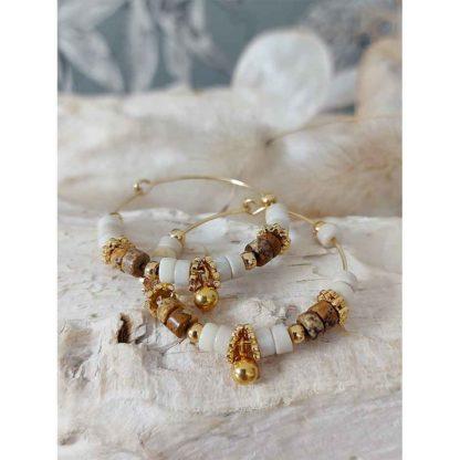 boucles d'oreilles créoles perles femme bijoux tendance