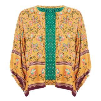 veste kimono fleurie moutarde Dinah MABE