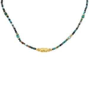 collier femme perles fines pierres naturelles jaspe africaine