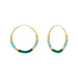 boucles d'oreilles créoles vertes Une à Une bijoux
