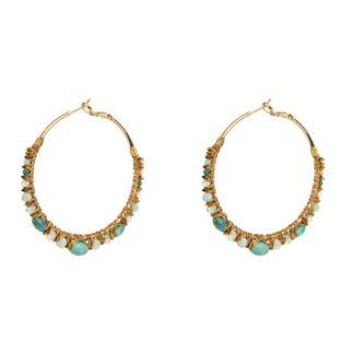 boucles d'oreilles créoles perlées turquoise Satellite