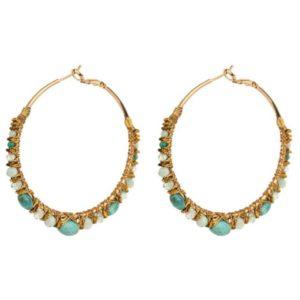 boucles d'oreilles créoles Satellite perles turquoises