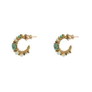 boucles d'oreilles mini créoles perles turquoises Satellite