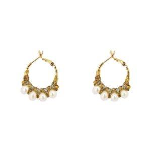 boucles d'oreilles mini créoles perles de rivière Satellite