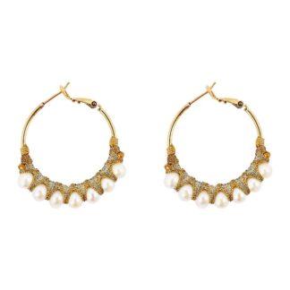 boucles d'oreilles créoles perlées en perles de rivière Allegria Satellite bijoux Paris