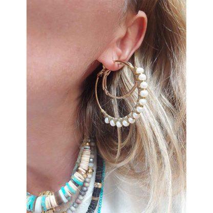 boucles d'oreilles créoles nacres Satellite bijoux Paris