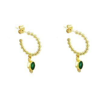 boucles d'oreilles créoles agate verte créateur bijoux
