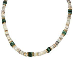 collier Bohemian Rhapsodie en perles plates pierres naturelles
