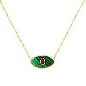 collier Ayin malachite et rubis Bohemian Rhapsodie