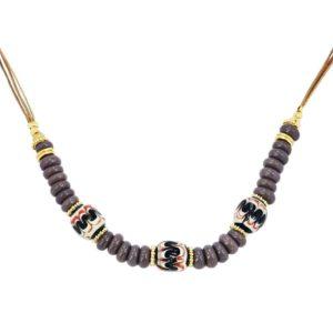collier perles femme violettes