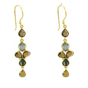 boucles d'oreilles pendantes pierres naturelles dorées