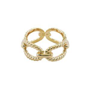 bague dorée plaqué or femme tendance chaîne