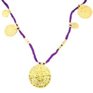 collier médailles grigri By Garance violet soie
