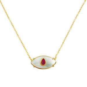 collier Bohemian Rhapsodie nacre et rubis