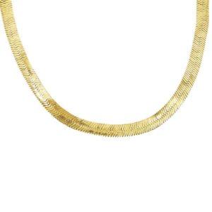 collier maille serpent miroir plaqué or