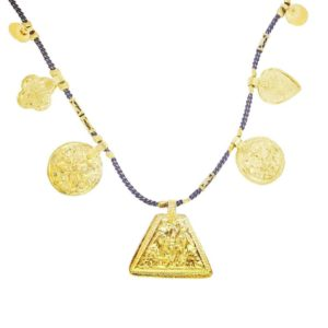 collier grigri By Garance avec médailles dorées