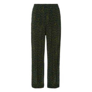pantalon fluide femme kaki motif léopard
